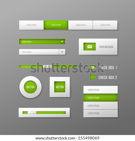 Set of white vector web elements - stock vector