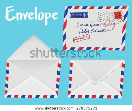 Set of white vintage Envelope isolated on blue background - stock vector