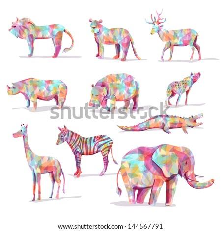 Set of wild animal vector safari in diamond shape colorful - stock vector