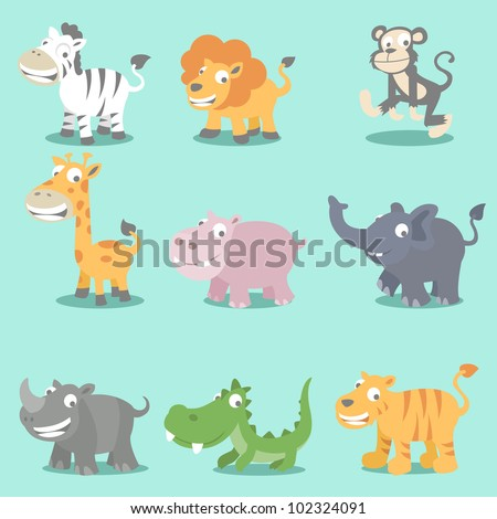 Set of 9 wild jungle animals, zebra, lion, monkey, girrafe, hippo, elephant, rhino, crocodile and tiger - stock vector