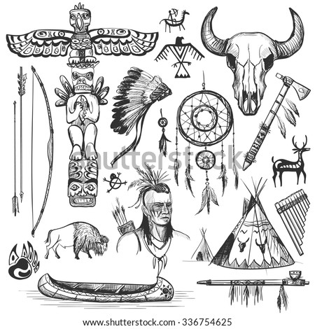 Set of wild west american indian designed elements.: bear, arrows, fox, wigwam, rabbit, owl, feathers, beads, onions, fire, tomahawk, torch . The concept for the design. - stock vector
