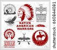 Set of wild west american indian designed elements. Monochrome style