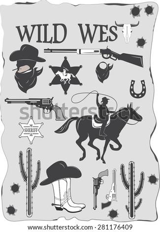 Set of wild west cowboy designed elements - stock vector