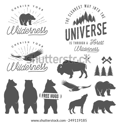 Set of wilderness quotes, emblems, silhouettes and design elements - stock vector