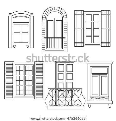 vintage window drawing. set of windows isolated. hand drawn icons collection. decorative background with sketch objects vector vintage window drawing