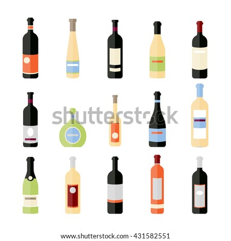 Set of wine bottles in flat. Isolated flat wine bottles. Different kinds of wine bottles. Design elements for banners, wine markets, alcohol advertising, bars and vineyards. Red, white, sparkling wine