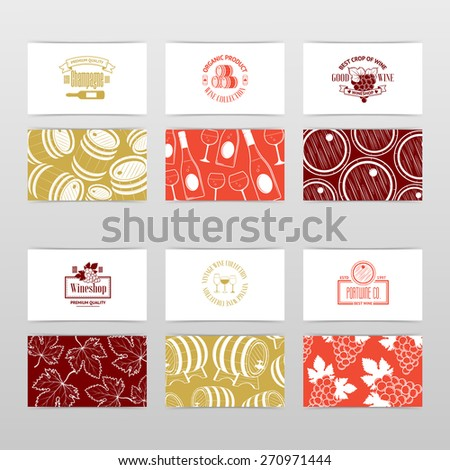 Set wine business cards templates wine stock vector royalty free set of wine business cards templates for wine company vintage vector illustration for your colourmoves