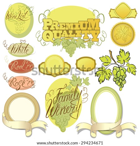 Set of wine design elements for bar or restaurant - signs, icons, vignettes collection, calligraphy words - FAMILY WINERY, WINE LIST, red, white, rose.  - stock vector