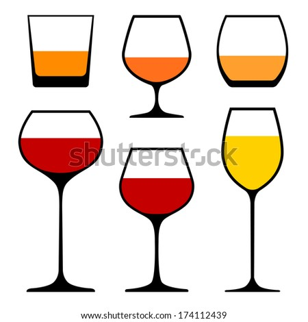 set of wine glasses icons, vector eps 10 illustration - stock vector