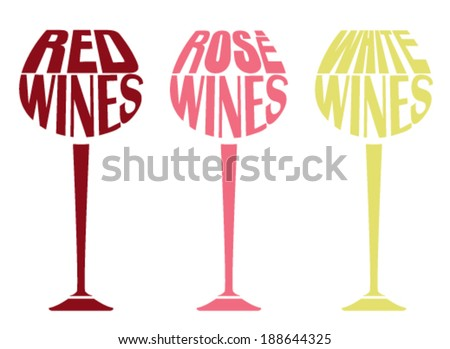 Set of wine glasses with text - stock vector