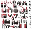 Set of wine icons, symbols, signs and design elements - stock photo
