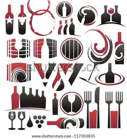 Set of wine icons, symbols, signs and design elements - stock vector