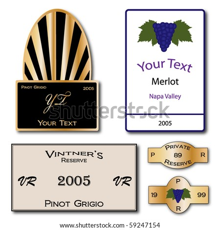 Set of Wine Label Vectors - stock vector