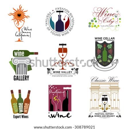 Set of wine, wine exhibition, wine festivals, restaurants and wine shops logos, badges kit design elements. Label and logo: Glasses, corkscrews, wine bottle. - stock vector