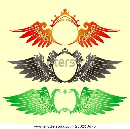set of wing badge isolated  - stock vector