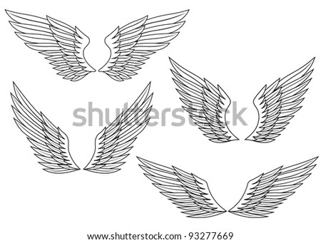 Set of wings for heraldry design - stock vector