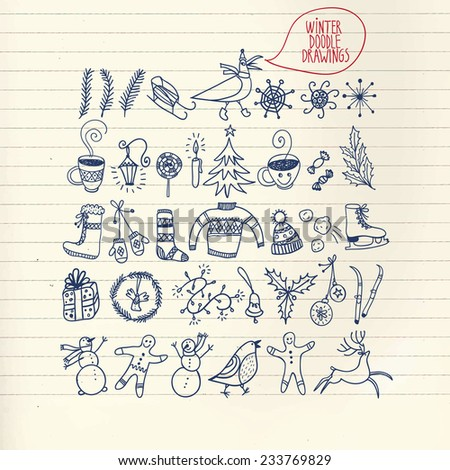Set of winter and Christmas doodle hand drawn design elements on paper background - stock vector