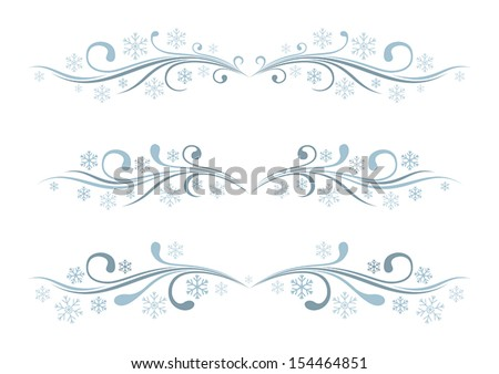Set of winter borders - stock vector