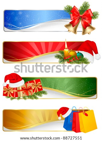 Set of winter christmas backgrounds. Vector illustration - stock vector