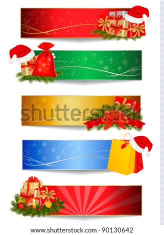 Set of winter christmas backgrounds. Vector illustration. - stock vector
