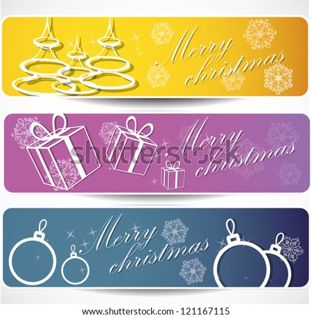 Set of winter christmas banners . Eps10 .Image contain transparency and various blending modes - stock vector