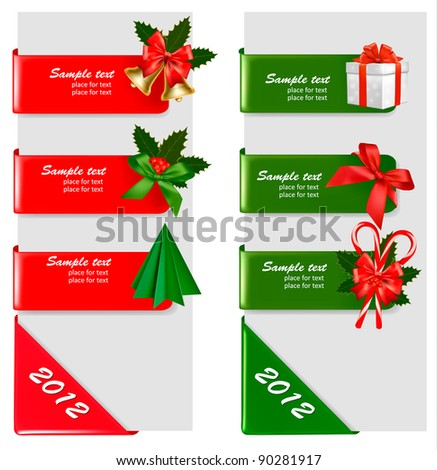 Set of winter christmas banners. Vector illustration - stock vector