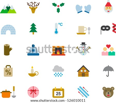 set of WINTER & CHRISTMAS color flat icons