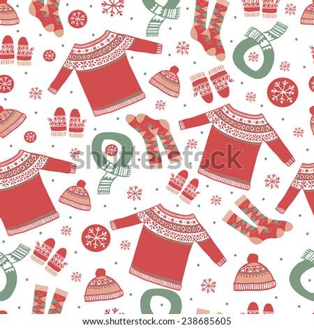 Set of winter clothing. Vector illustration. Seamless pattern - stock vector