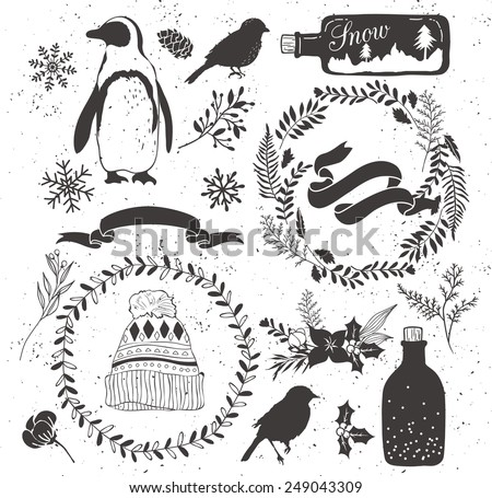 set of winter collection:penguin,bottle,ribbon,hat,snowflake,leaf,flower,floral bouquet,bird,bud,branch - stock vector