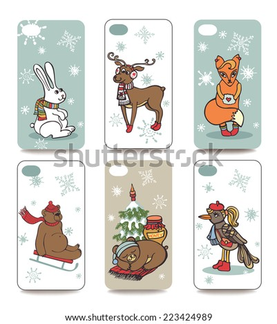 Set of Winter funny animals for mobile phone cover. The visible part of the clipping mask. The sample is ready for printing after the release clipping mask.Christmas, new year Vector illustration  - stock vector