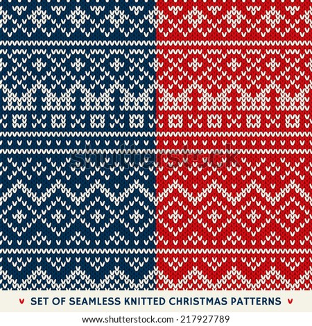 Set of 2 Winter Holiday Seamless Knitted Patterns - stock vector