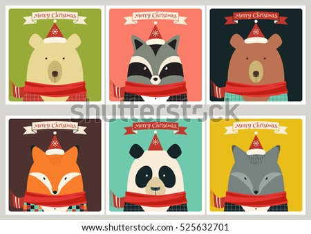 Set of winter holidays cards with animals. Bear, panda, wolf, raccoon, fox.