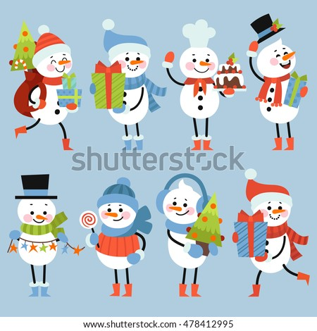 Set of winter holidays snowman. Cheerful snowmen in different costumes. Gifts, Christmas tree, garland, and other holiday attributes.
