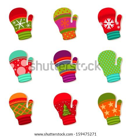 set of winter mittens - stock vector