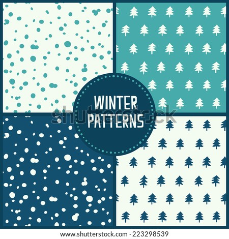 Set of winter patterns. Vector - stock vector