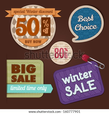 Set of winter sale labels. Fabric and knit style. - stock vector