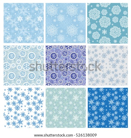 Set of Winter seamless backgrounds with snowflakes.