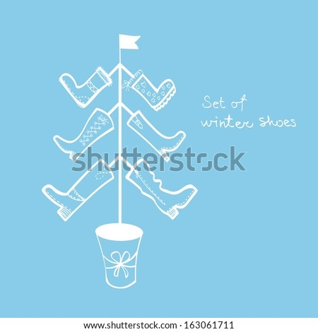 set of winter shoes , Christmas fir - stock vector