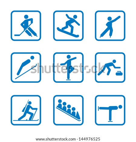 Set of winter sport icons - stock vector