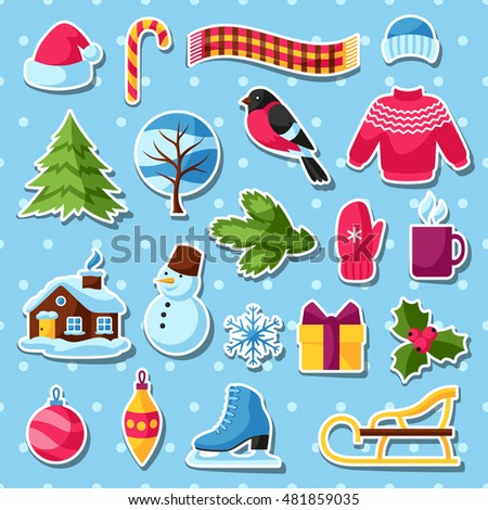 Set of winter stickers. Merry Christmas, Happy New Year holiday items and symbols.