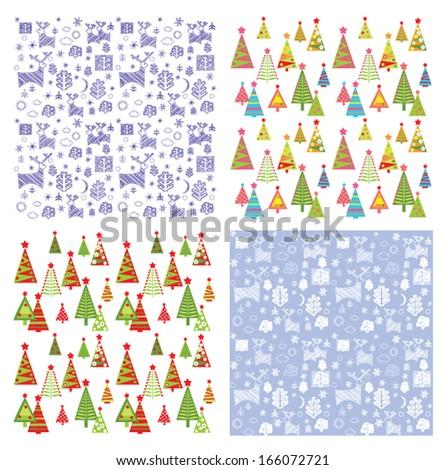 Set of winter wallpaper - stock vector