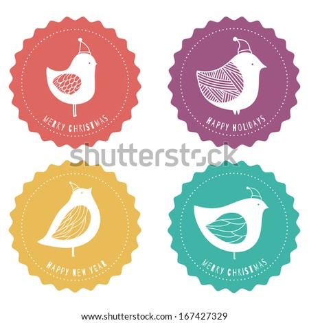 Set of wintertime badges with birds