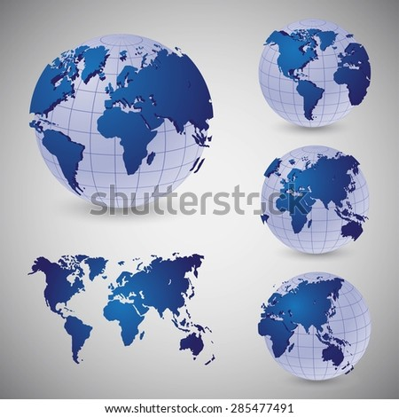 Set of wire frame world globes