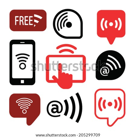 Set of wireless icons, vector illustration - stock vector