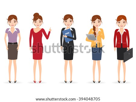 Set of woman character. People occupation. - stock vector
