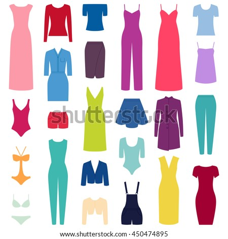 Set of woman clothes icons, vector illustration - stock vector