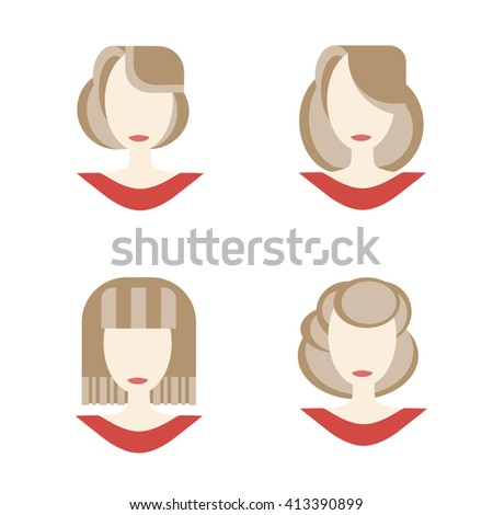 Set of woman face icon. Symbol of female beauty. Vector illustration hair styles. Flat style. - stock vector