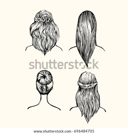 Set Different Hairstyles Wedding Hairstyles Hair Stock - Different hair style drawing