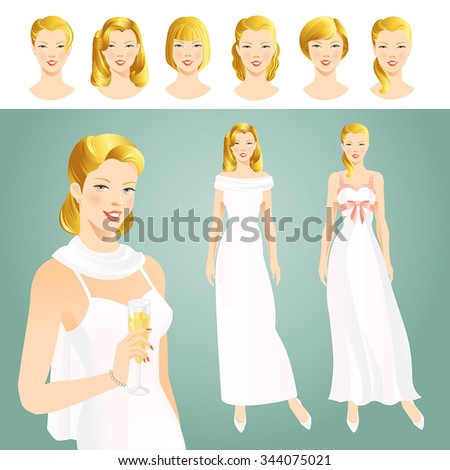 Set of woman in elegant white dress. Girl head with various blond hair style - stock vector