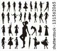 Set of woman silhouettes - stock photo